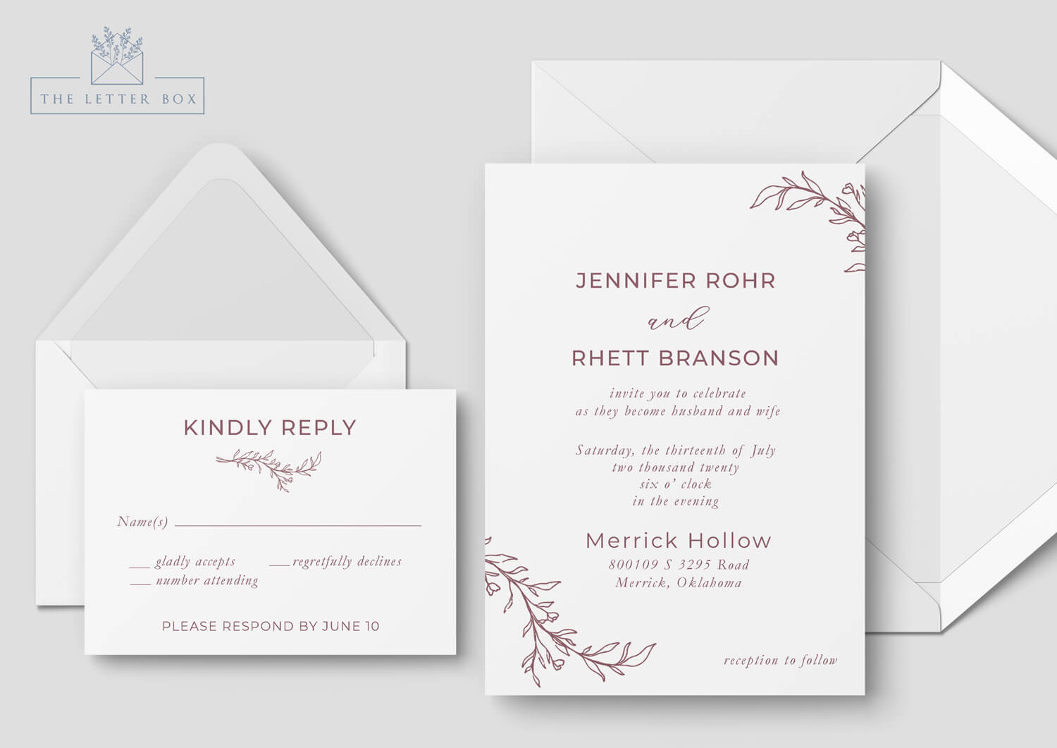 Brassy Semi Custom Wedding Invitation Suite