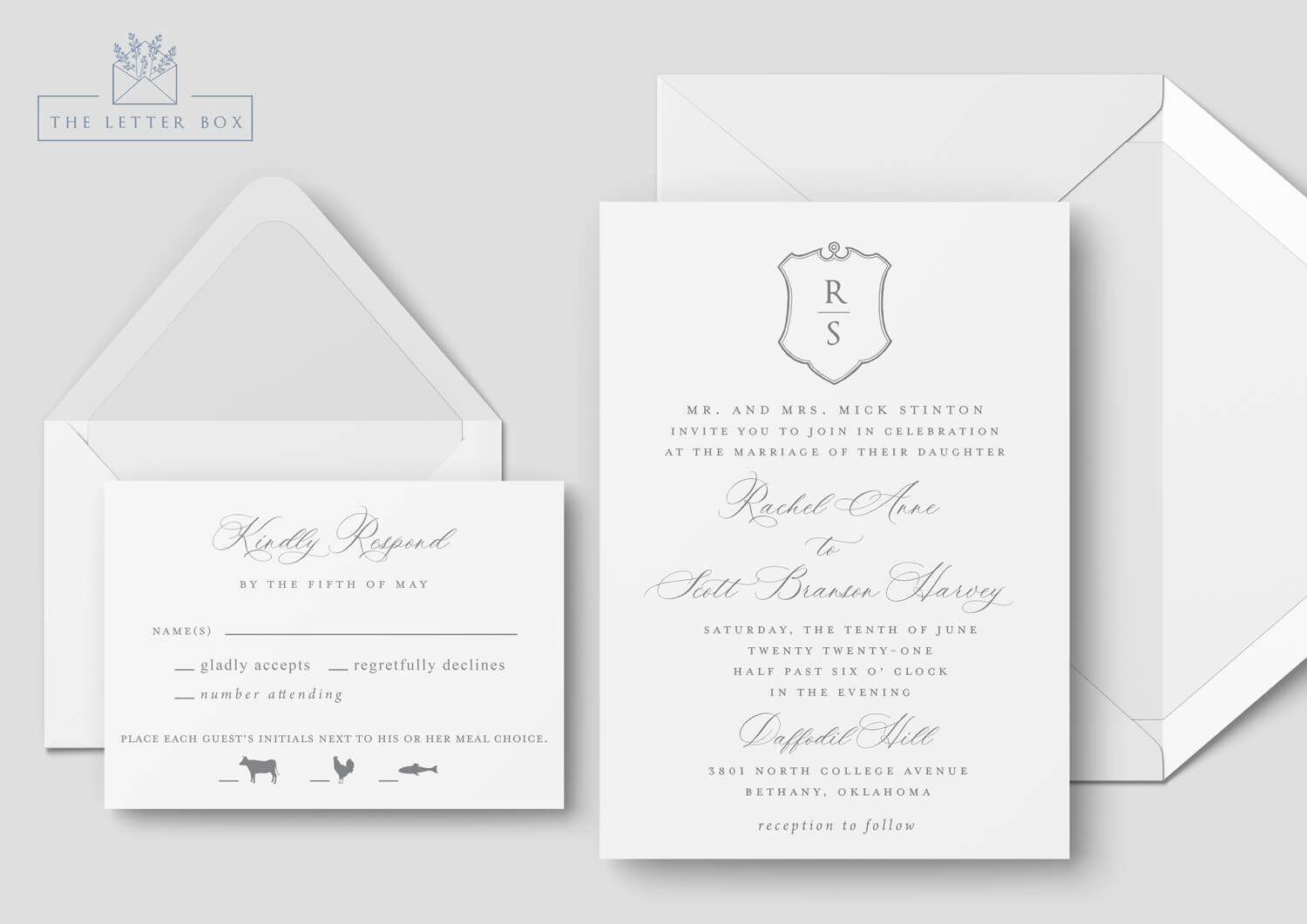 Crest Semi Custom Wedding Invitation Suite