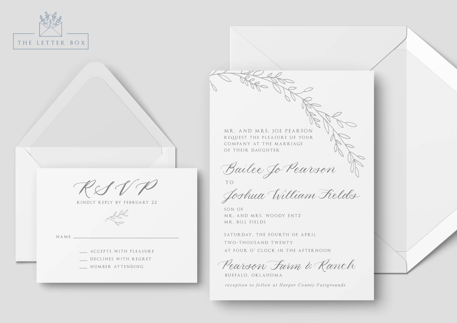 Moda Semi Custom Wedding Invitation Suite